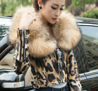 Luxury Womens Down Real Leather Jacket Winter Warm Big Fur Collar Short Coat