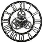 Retro Wall Clock Industrial Wooden Silent Gear Large 3D Rustic for House Warming