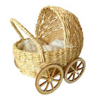 Miniature baby carriage rattan look wicker doll stroller with wooden wheels pram, used for sale  Shipping to Canada