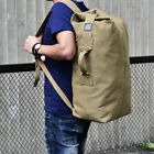 Military Tactical Canvas Backpack Men Big Army Bucket Outdoor Travel Rucksack