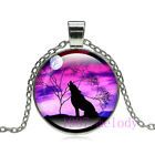 Vintage jewelry Cabochon Glass silver Necklace pendants:fantasy sky wolf  #770