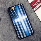 Thin Blue Line US Flag Police  Hard Rubber Phone Case for iPhone,Samsung,Google