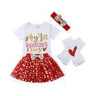 USStock Toddler Baby Girls Valentine Day Love Printed Party Dress Clothes Outfit