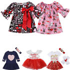 Kyпить USStock Toddler Baby Girls Valentine Day Love Printed Party Dress Clothes Outfit на еВаy.соm