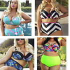 Women Plus Size High Waist Bikini Top Short Two Piece Bandage SwimingSuit Beach