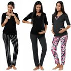 Happy Mama.Women's Maternity Nursing Breastfeeding Pyjamas Set V-neck.122p
