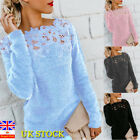 Women Floral Fluffy Hollow Jersey Jumper Tops Ladies Long Sleeve Pullover Shirt
