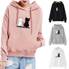 Cute Tops Womens Cat Sweater Blouse Hoodie Outwear Sports Loose Pullover Jumper