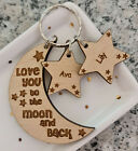 PERSONALISED FATHERS DAY GIFTS FOR HIM HER GIFT DADDY DAD MUM MUMMY MOON KEYRING