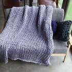 Large Soft Warm Handmade Chunky Knit Blanket Thick Line Yarn Bulky Knitted Throw image