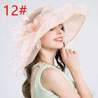 Women Girl Foldable Organza Derby Church Hat Ruffles Wide Brim Summer Bridal Cap