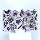 AAA Quality 925 Sterling Silver Jewelry Purple Amethyst Lady Band Ring Jewellery image