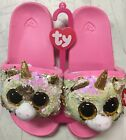 TY Beanie Boos Fashion Sequin Flip Flop Sandals with Heart Tags NEW