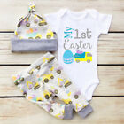 My 1st Easter Newborn Baby Boy Girl Romper+Leggings+Hat 3Pcs Outfits Clothes Set