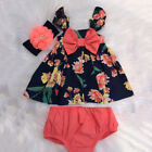 Flower Newborn Baby Girl Bow Dress Tops Shorts Briefs 2PCS Party Outfits Clothes