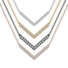 Natural Diamond Pave Chevron Pendant Necklace Solid 18k Yellow Gold Fine Jewelry