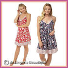 Ladies Satin Strappy Knee Length Chemise Nightdress Red or Blue Size 8-20