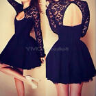 Sexy Women Long Sleeve Lace Splicing Backless Party Bodycon Mini Dress Black