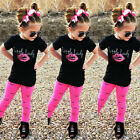 USA Toddler Kids Girls Short Sleeve Tops T shirt +Long Pants Outfit Clothes 1 6Y