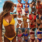 Stylish Women Swimwear Solid Sexy Bra Tank Top and Briefs Two Pieces Bikini Set