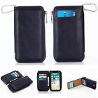Retro Zipper Removable Leather Wallet Card Case Cover for iPhone 6s 7 8 XS Max