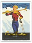 Quebec, Canada - Chateau Frontenac Skiing - 1938 Vintage Travel Poster Print