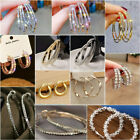 Women Silver Crystal Rhinestone Large Hoop Dangle Earrings Wedding Jewellery image