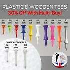 Plastic Castle & Wooden Masters Golf Tees All Colours & Sizes - New Quality Tees