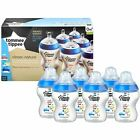 6 Tommee Tippee Closer Nature Baby Feeding Bottle 260ml Decorated Pack Pink/Blue