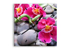 WALL CLOCK - CLOCK ON GLASS Asian bamboo orchid stones 0465 UK