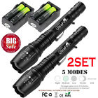 2Sets Ultrafire 50000LM Flashlight Tactical Zoomable 5 Modes Torch T6 LED Light