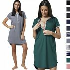 Happy Mama Women's Maternity Nursing Cut Out Nightshirt -Striped Nightdress 045p