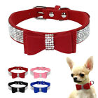Bling Rhinestone Dog Collar Bowtie Necklace Soft Suede Crystal for Pet Puppy Cat