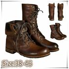 Mens Boots Punk Knight Shoes High Top Lace Up Martin Military Leather Motorcycle