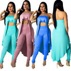 Women Strapless Rib Solid Color Ruffled Tops Bodycon Club Jumpsuit Pants Set 2pc