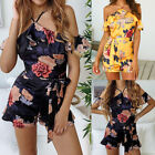 Women Summer Floral Jumpsuit Romper Sleeveless Beach Party Mini Short Dress