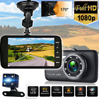 Car Dashboard Camera Front Rear Dual Cam G-Sensor 170 Wide Angle HD Night Vision