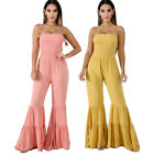 Women Sexy Spaghetti Strap Draped Solid Color Long Bell-bottom Jumpsuit Summer