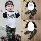 US Toddler Baby Boy Clothes Long Sleeve Top T-Shirt Camouflage Pants Outfit Set