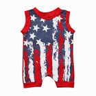 US Kids Baby Boy Girl American Flag Romper Sleeveless Bodysuit Clothes Outfits