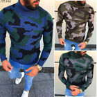 Men's Long Sleeve Pullover High Neck Loose Knit Top Comfort O-Neck Sweater