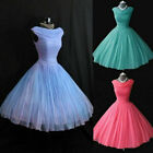 Vintage 1950's 50s Blue Cap Sleeve Organza Short Wedding Party Gowns Custom