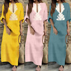 Vintage Womens Long Sleeve Loose Kaftan Tops Sexy Dubai Abaya Maxi Dress Tunic