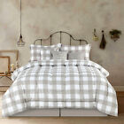 Full Queen King Bed Tan Beige White Buffalo Checked Plaid 7 pc Comforter Set image