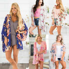 New Flowy Floral Kimono Cardigan Duster Long Wrap Shawl Boho Loose Womens