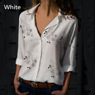 Women Office Shirt Clothing Long Sleeve Blouse V-neck Tops Cotton Cotton Blend