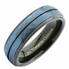 Tungsten Carbide 6 or 8mm Wedding Band Hammered Black and Blue Plated Ring