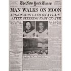Vintage Space Newspaper Moon Aldrin Armstrong 12X16 Inch Framed Art Print