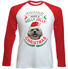 SHIH-TZU CHRISTMAS HAVE A HOLLY - NEW RED SLEEVED TSHIRT