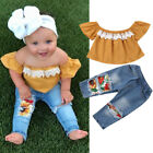 Внешний вид - Toddler Kids Baby Girl 2Pcs Outfits off Shoulder Tops+Ripped Denim Jeans Pants